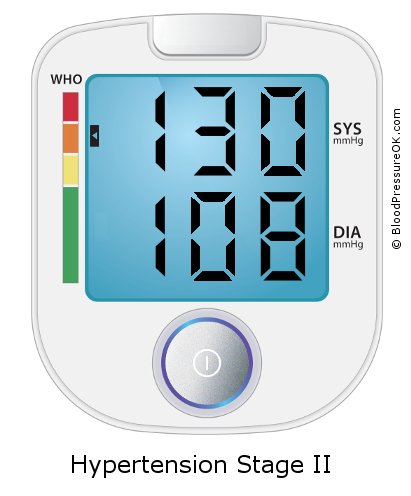 Blood Pressure 130 over 108 on the blood pressure monitor