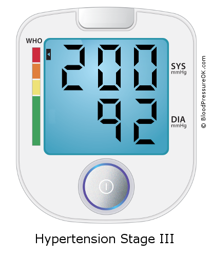 Blood Pressure 200 over 92 on the blood pressure monitor