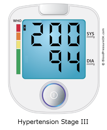 Blood Pressure 200 over 94 on the blood pressure monitor