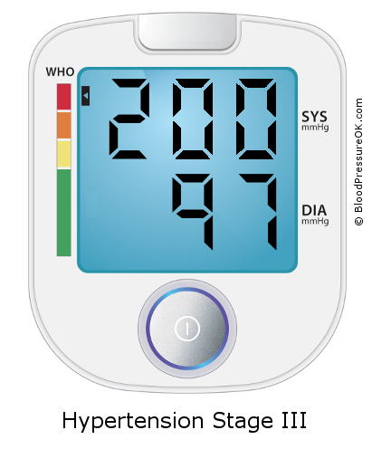 Blood Pressure 200 over 97 on the blood pressure monitor
