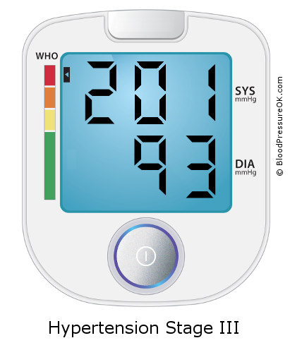 Blood Pressure 201 over 93 on the blood pressure monitor
