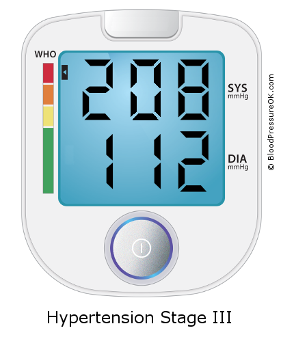 Blood Pressure 208 over 112 on the blood pressure monitor