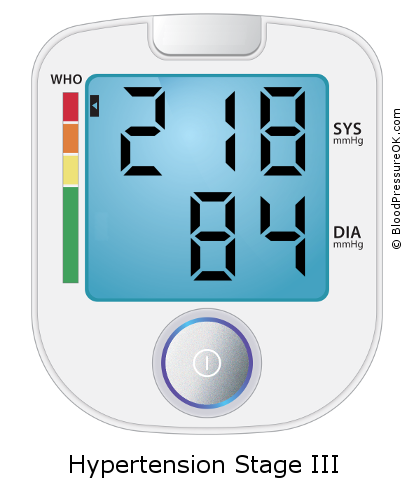 Blood Pressure 218 over 84 on the blood pressure monitor