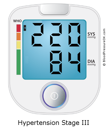 Blood Pressure 220 over 84 on the blood pressure monitor