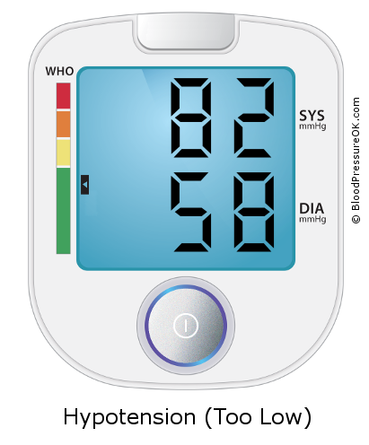 Blood Pressure 82 over 58 on the blood pressure monitor