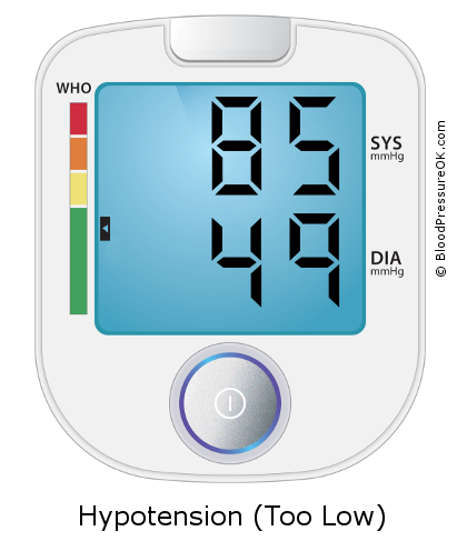 Blood Pressure 85 over 49 on the blood pressure monitor