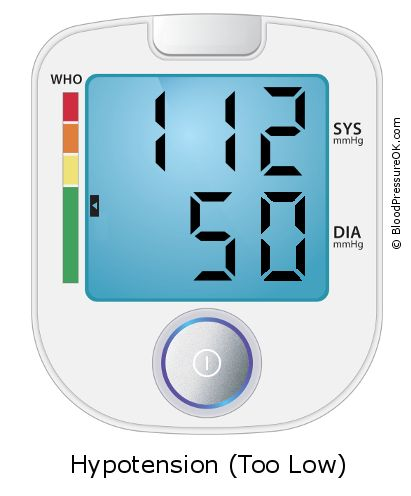 Blood Pressure 112 over 50 on the blood pressure monitor