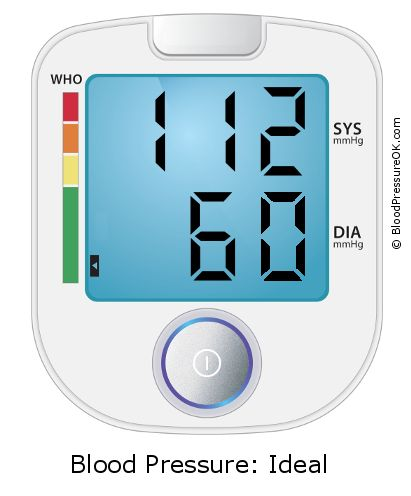 Blood Pressure 112 over 60 on the blood pressure monitor