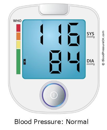 Blood Pressure 116 over 84 on the blood pressure monitor