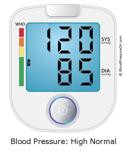 Blood Pressure 120 over 85 on the blood pressure monitor