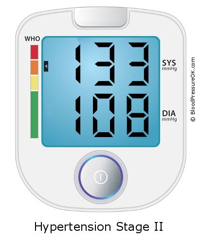 Blood Pressure 133 over 108 on the blood pressure monitor