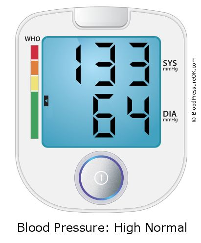 Blood Pressure 133 over 64 on the blood pressure monitor