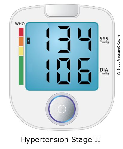 Blood Pressure 134 over 106 on the blood pressure monitor