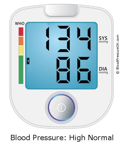 Blood Pressure 134 over 86 on the blood pressure monitor