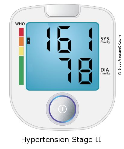 Blood Pressure 161 over 78 on the blood pressure monitor
