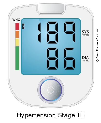 Blood Pressure 189 over 86 on the blood pressure monitor