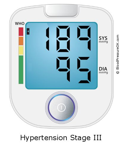 Blood Pressure 189 over 95 on the blood pressure monitor