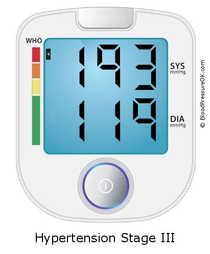Blood Pressure 193 over 119 on the blood pressure monitor