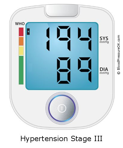 Blood Pressure 194 over 89 on the blood pressure monitor