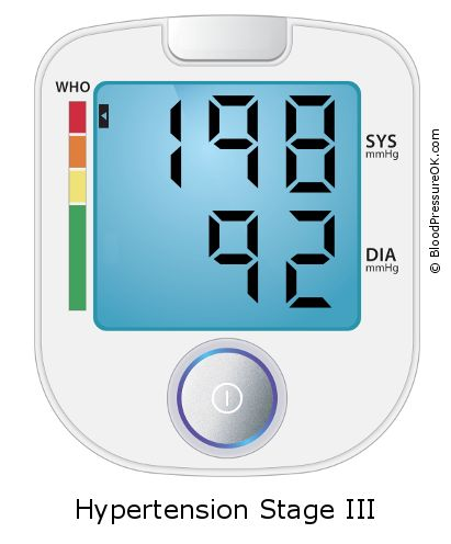 Blood Pressure 198 over 92 on the blood pressure monitor