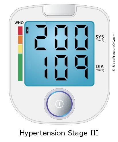 Blood Pressure 200 over 109 on the blood pressure monitor