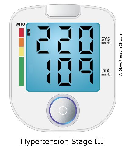 Blood Pressure 220 over 109 on the blood pressure monitor