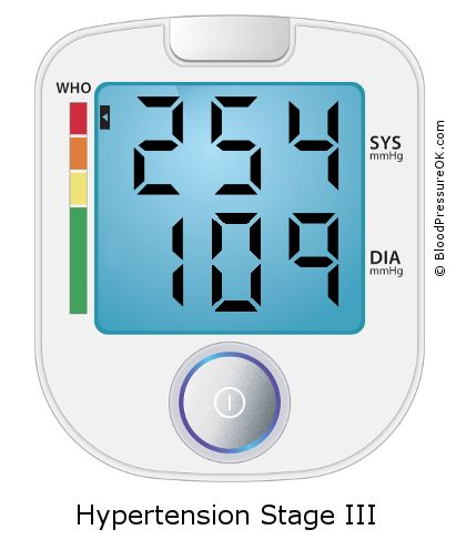 Blood Pressure 254 over 109 on the blood pressure monitor